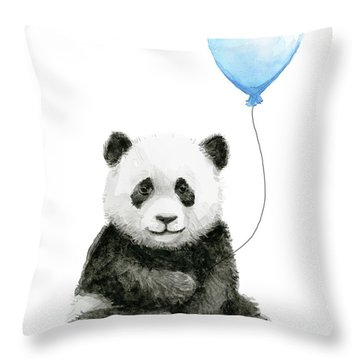 Baby Panda With Blue Balloon Watercolor Throw Pillow