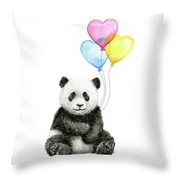 Baby Panda With Heart-shaped Balloons Throw Pillow by Olga Shvartsur