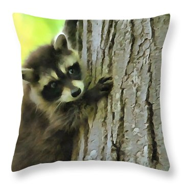 Baby Raccoon In A Tree Throw Pillow