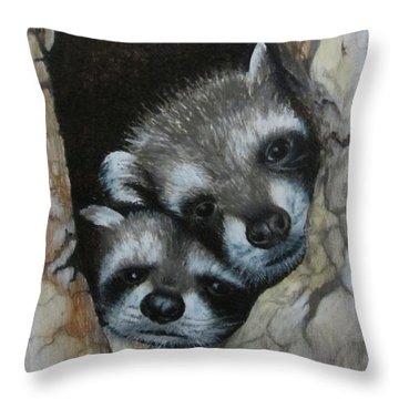 Baby Raccoons Throw Pillow