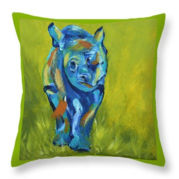 Baby Rhino Animal Art Painting Throw Pillow by Catherine Jeltes