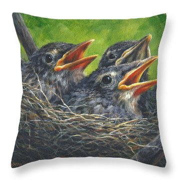 Baby Robins Throw Pillow