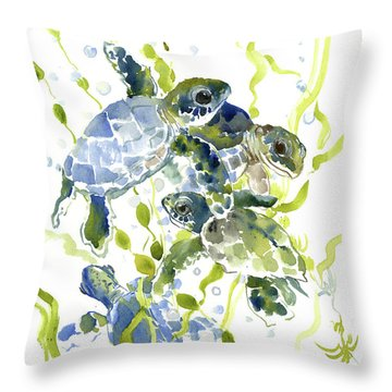 Baby Sea Turtles In The Sea Throw Pillow