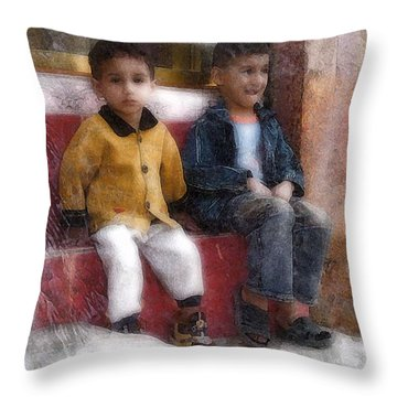 Throw Pillow featuring the digital art Baby Steps 4 by Kate Word