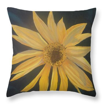 Throw Pillow featuring the painting Baby Sunflower by Betty-Anne McDonald