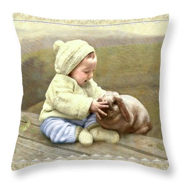 Baby Touches Bunny's Nose Throw Pillow