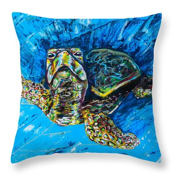 Baby Turtle Throw Pillow by Lovejoy Creations