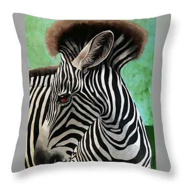 Throw Pillow featuring the painting Baby Zebra by Linda Apple