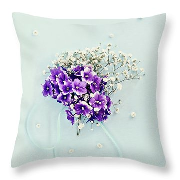 Throw Pillow featuring the photograph Baby's Breath And Violets Bouquet by Stephanie Frey