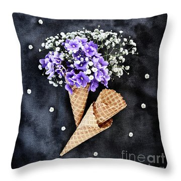 Throw Pillow featuring the photograph Baby's Breath And Violets Ice Cream Cones by Stephanie Frey