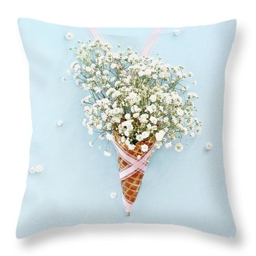 Throw Pillow featuring the photograph Baby's Breath Ice Cream Cone by Stephanie Frey