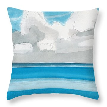 Throw Pillow featuring the painting Bacalar, Mexico by Dick Sauer