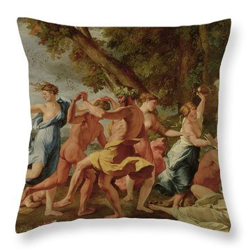 Bacchanal Before A Herm Throw Pillow by Nicolas Poussin