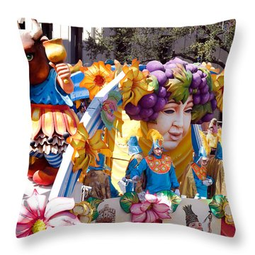 Bacchus Mardis Gras Float Throw Pillow by Carol M Highsmith