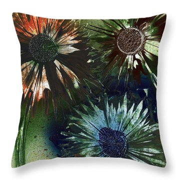 Bachelor Button Trio Throw Pillow