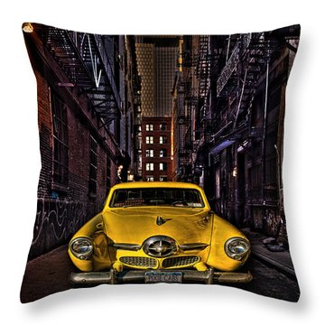 Back Alley Taxi Cab Throw Pillow