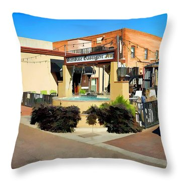 Back Alley View Of The Gaslight Inn Patio Throw Pillow by Charles Ables
