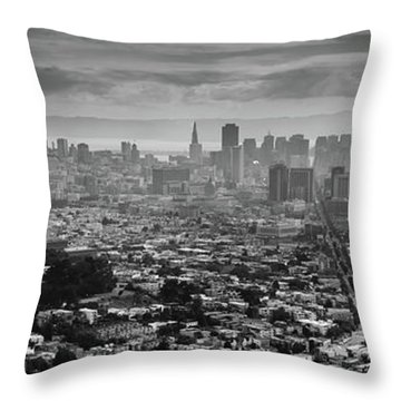 Back And White View Of Downtown San Francisco In A Foggy Day Throw Pillow