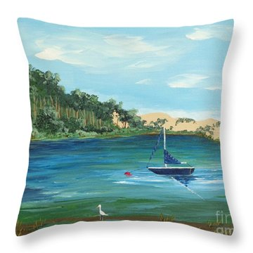 Throw Pillow featuring the painting Back Bay From Back Bay Inn Los Osos Ca by Katherine Young-Beck