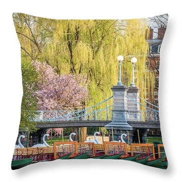 Back Bay Swans Throw Pillow by Susan Cole Kelly