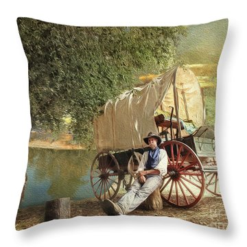 Back Country Camp Out Throw Pillow
