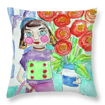 Back From The Market Throw Pillow