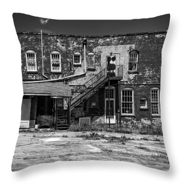 Throw Pillow featuring the photograph Back Lot - Bw by Christopher Holmes