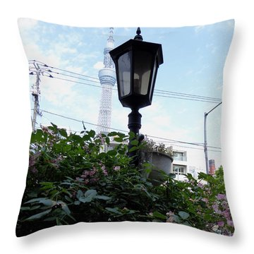 Back Street In Tokyo Throw Pillow