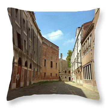 Throw Pillow featuring the photograph Back Street In Venice by Anne Kotan