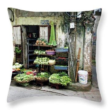 Back Street Veggies Store I Throw Pillow
