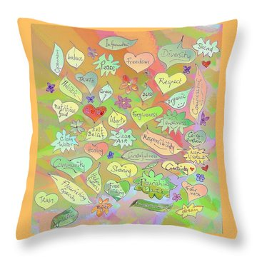 Back To The Garden Leaves, Hearts, Flowers, With Words Throw Pillow