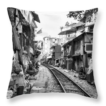Back Tracks Hanoi Bw Throw Pillow