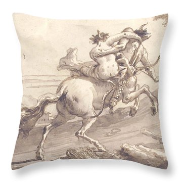 Back View Of A Centaur Abducting A Satyress Throw Pillow