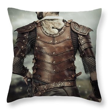 Back View Of Viking Costume Throw Pillow