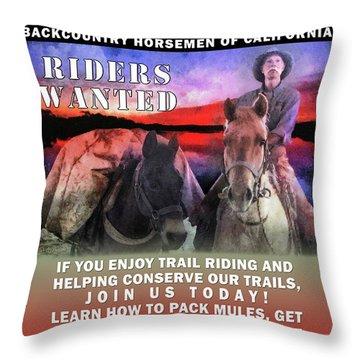 Throw Pillow featuring the digital art Backcountry Horsemen Join Us Poster II by Rhonda Strickland