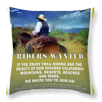 Throw Pillow featuring the digital art Backcountry Horsemen Join Us Poster by Rhonda Strickland