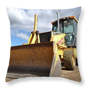 Backhoe Tractor Construction Throw Pillow