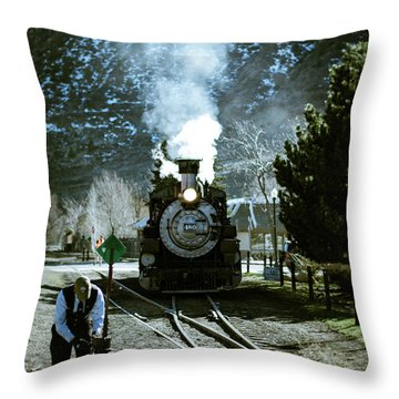 Backing Into The Station Throw Pillow