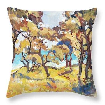 Backlight Olive Trees Marmari Beach Throw Pillow