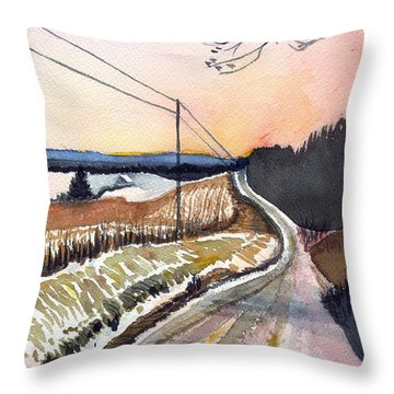 Backlit Roads Throw Pillow by Katherine Miller