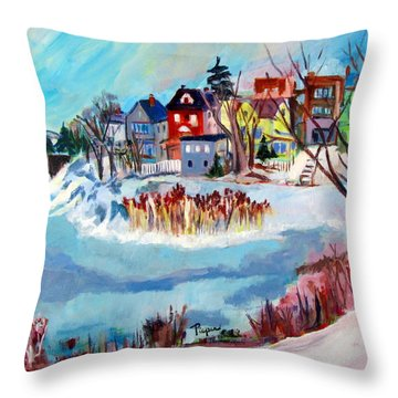 Backside Of Schenectady Stockade In February Throw Pillow