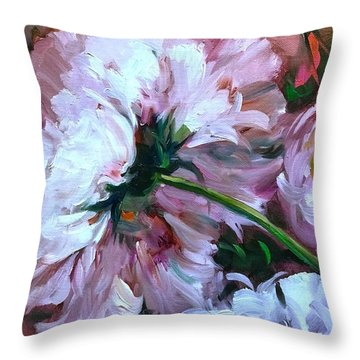 Backward Glance White Peony Throw Pillow