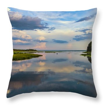 Backwater Sunset Throw Pillow