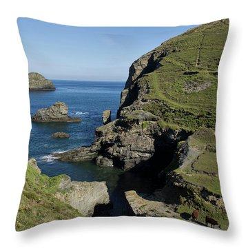 Backways Cove Near Trebarwith Throw Pillow