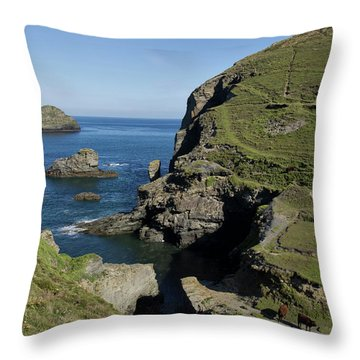 Backways Cove Near Trebarwith Throw Pillow