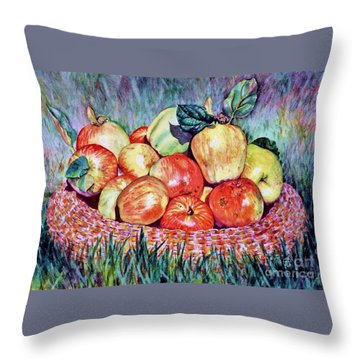 Backyard Apples Throw Pillow