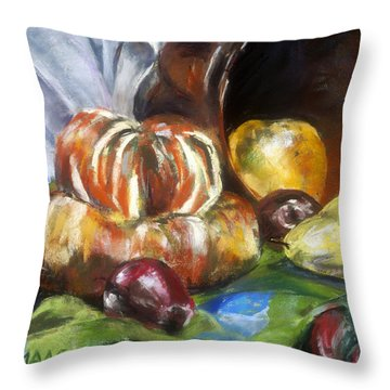 Backyard Bounty Throw Pillow by Julie Maas
