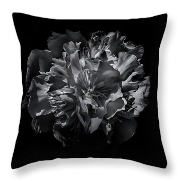 Backyard Flowers In Black And White 25 Throw Pillow by Brian Carson
