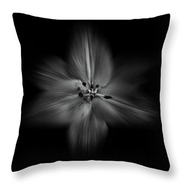 Backyard Flowers In Black And White 28 Flow Version Throw Pillow