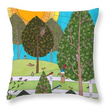 Backyard Gathering Throw Pillow